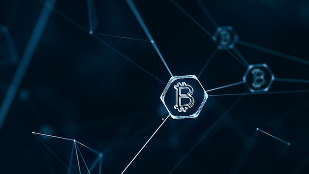 Bitcoin and block chain cryptocurrency concept with bitcoin currency sign on connecting li