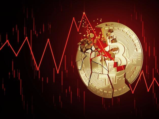 Bitcoin breaks down its value declines 3d rendering concept