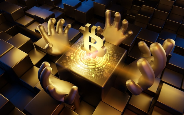 ビットコイン(btc)コインシンボル、デジタル通貨、3dイラスト