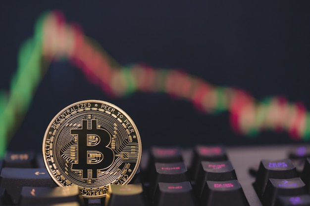 Bitcoin btc group included cryptocurrency and stock chart candlestick down trend lose stock
