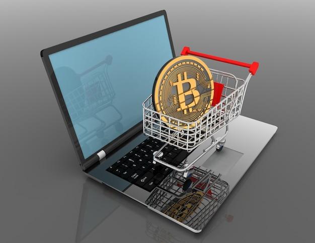 Bitcoin in cart on laptop. 3d rendered illustrartion