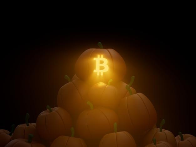 Bitcoin 새겨진 호박 스택 더미 암호화 통화 3d 그림 렌더링 어두운 조명