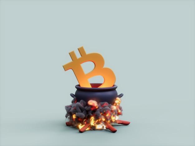 Bitcoin 가마솥 화재 요리사 암호화 통화 3d 그림 렌더링