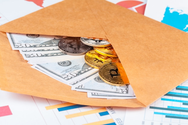 Bitcoin, chart and us dollar. finance trading