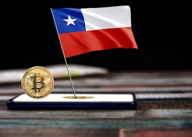 チリの旗のビットコインチリ。チリの概念におけるビットコインのニュースと法的状況。