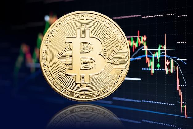 Биткойн-монета и биржевой график с падением цены. криптовалюта