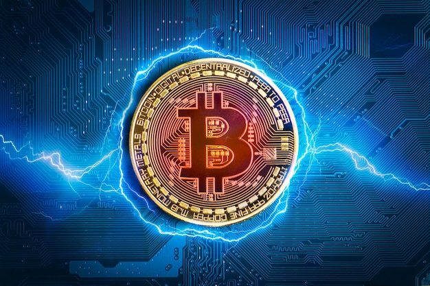 Bitcoin coin. bitcoin-crypto-currency on the abstract background of the electronic motherboard .