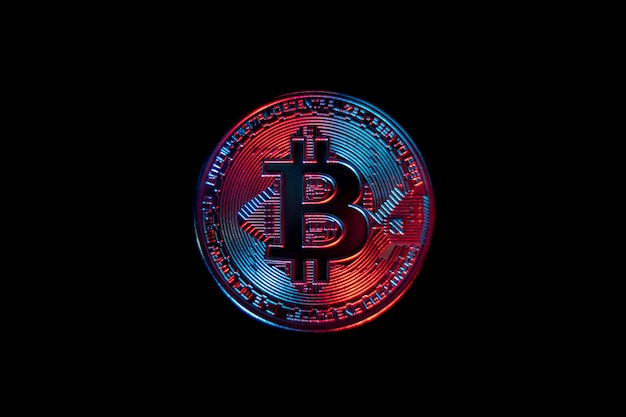 Bitcoin coin on black background