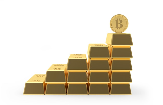 Bitcoin coin on chart from gold bars. 3d