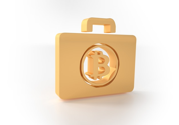 Биткойн монета крипто деньги на золотой текст, изолированные на белом фоне. 3d иллюстрации