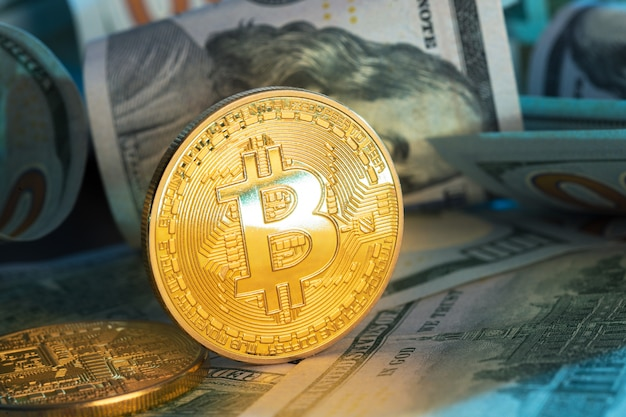 Bitcoin coin and dollar