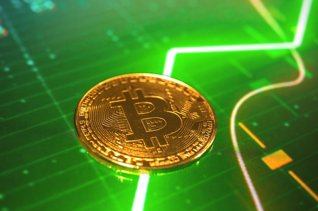 Bitcoin coin on the green growth stock chart graphs, concept photo background of crypto currency