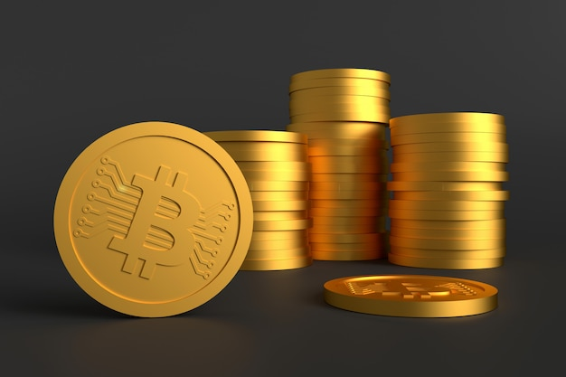 Bitcoin coin money. 3d rendering.