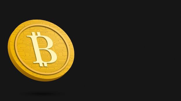 Монета биткойн на черном фоне, 3d визуализация криптовалюты