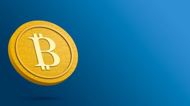 Монета биткойн на синем фоне, 3d визуализация криптовалюты