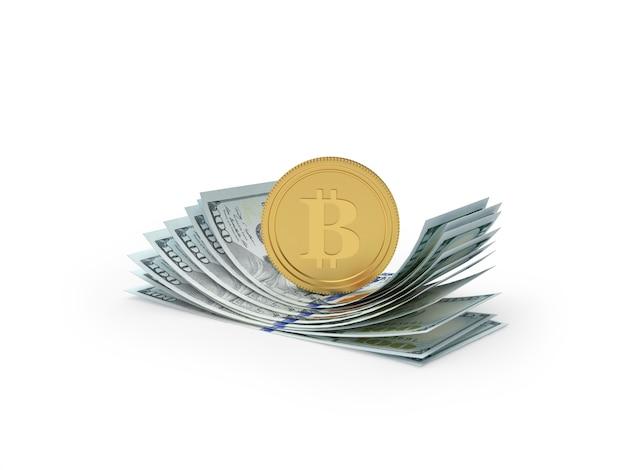 Монета биткойн на пачке долларовых купюр