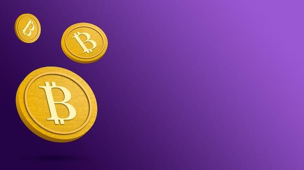 Монета биткойн на фиолетовом фоне, 3d визуализация криптовалюты
