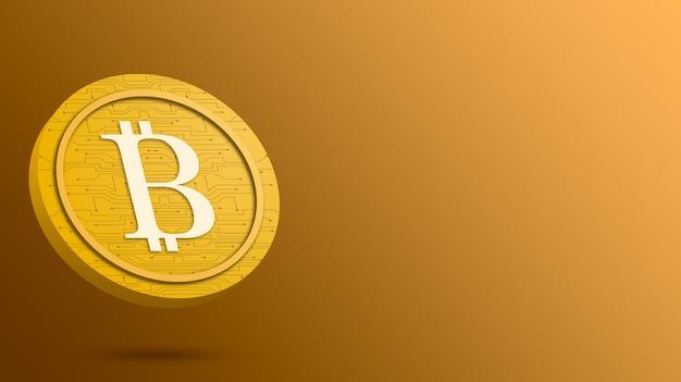 Монета биткойн на желтом фоне, 3d визуализация криптовалюты