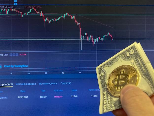 紙のビットコインコインは2ドル、米ドル-背景がぼやけています。ビットコインの電子スケジュール、ボリュームトレード