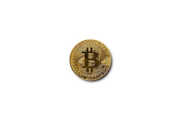 Монета биткойн на белом изолированном фоне. шаблон. баннер. плоская планировка, вид сверху.
