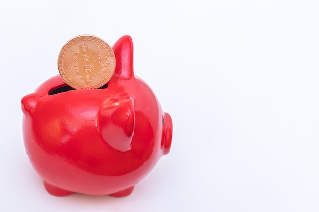 Bitcoin coin in a red piggy bank on a white background. bitcoin cryptocurrency concept. virtual currency concept.