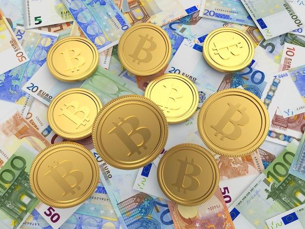 ビットコインコインがユーロ紙幣に落ちている