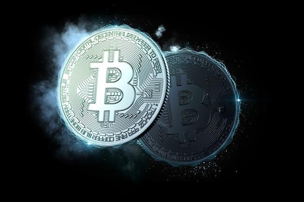 Биткойн-монеты светятся в темноте