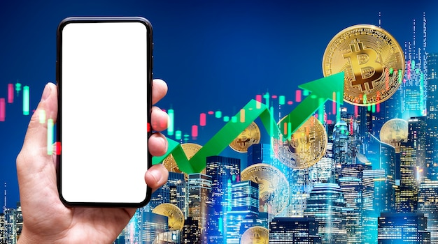 Bitcoin concept blank of mobile screen phone and night city background