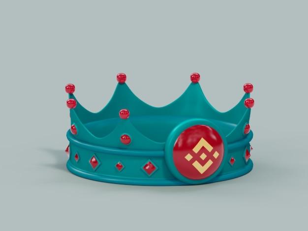 Биткойн корона король победитель чемпион криптовалюты 3d иллюстрация визуализации