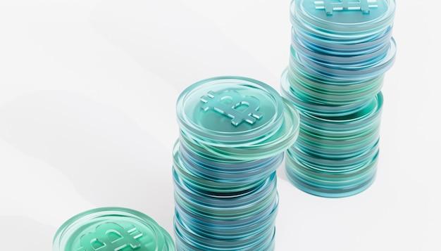 Стопки монет криптовалюты bitcoin, инвестиционная концепция электронной коммерции, 3d визуализация баннера