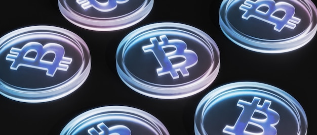 Монеты криптовалюты bitcoin, инвестиционная концепция электронной коммерции, 3d визуализация баннера