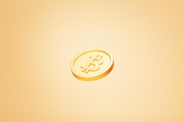 Золотая монета криптовалюты bitcoin, инвестиционная концепция электронной коммерции, 3d визуализация на бежевом фоне