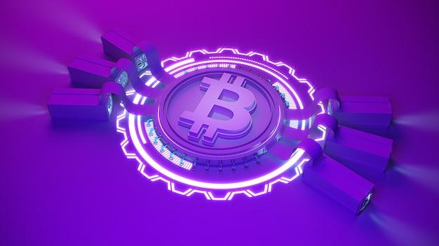 Фон фермы по добыче криптовалюты биткойнов с копией пространства. светящаяся финансовая концепция 3d иллюстрация
