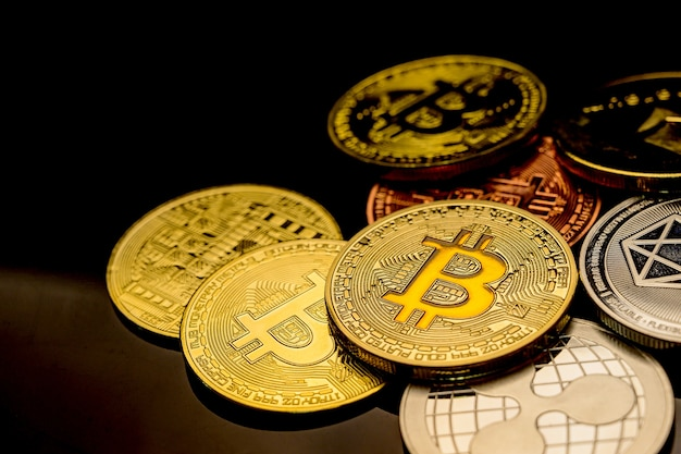 Bitcoin of crypto currency. new virtual money technology business for block chain