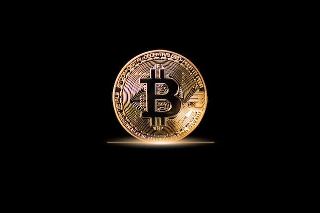 검은 배경에 bitcoin 암호화 통화 기호입니다. 무역 외환 교환 통화 디지털 주식 시장에서 글로벌 공장 돈 투자 소득. 비즈니스 금융 개념에 대한 기술 인터넷입니다.