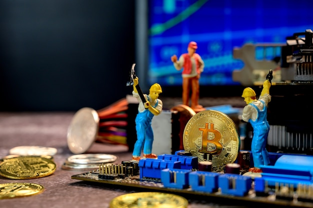 Bitcoin of crypto currency with gold, money and miniature toy. new virtual of technology and business for block chain