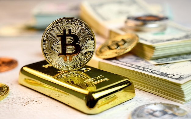 Bitcoin of crypto currency with gold and money. new virtual of technology and business for blockchain