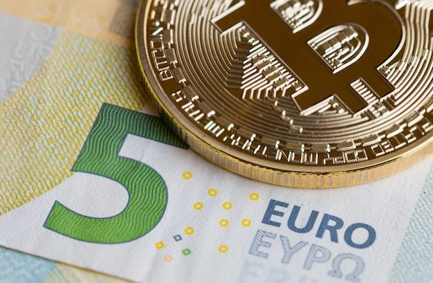 Bitcoin crypto currency with symbol electronic circuit on euro eyp