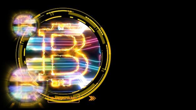 黒の孤立した背景でのビットコイン暗号通貨と未来的なカラフルなデジタルレーザー転送