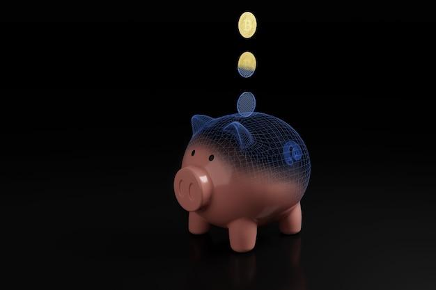 貯金箱に落ちるビットコイン暗号通貨コイン