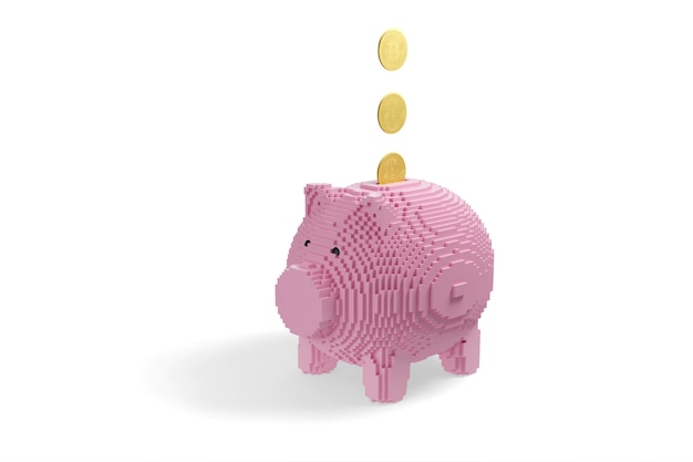Bitcoin cryptocurrency coin falling into a piggy bank built with blocks isolated on white background.