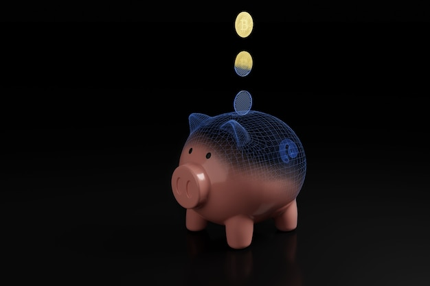 Bitcoin cryptocurrency coin falling into a piggy bank