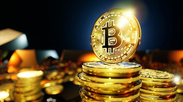 Монеты биткойн-криптовалюты в окружении золотых слитков