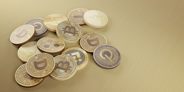 Bitcoin cryptocurrency digital currency 3d illustration