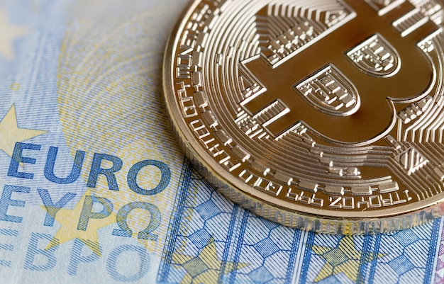 Bitcoin cryptocurrency is digital payment money concept, gold coins electronic circuit