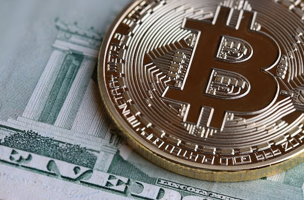 Bitcoin cryptocurrency is digital payment money, gold coins with b letter symbol on euro