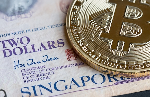 Bitcoin cryptocurrency is digital payment money, gold coins with b letter symbol
