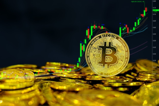 Биткойн криптовалюта на куче золотых монет много