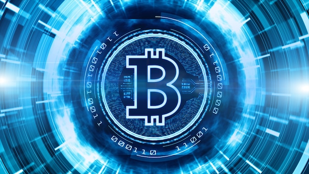 Bitcoin currency sign in digital cyberspace background