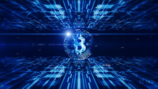 Bitcoin currency sign in digital cyberspace, business and technology concept.